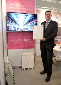Markus Massenbichler präsentiert das Deckenstrahlplatten-System der Krobath KGT auf der Fachmesse in Moskau und erweitert somit das Geschäft der Firmengruppe in Russland.